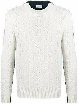 Moncler cable-knit two-tone jumper - Neutrals