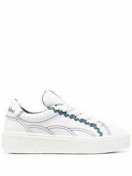 See by Chloé contrast-trim logo-embroidered sneakers - White