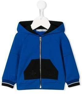 Baby Dior color-block zip-up hoodie - Blue