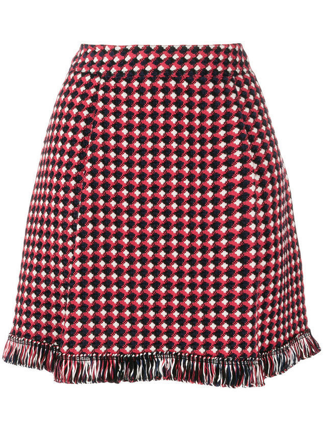 Boutique Moschino knitted fringed skirt - Red