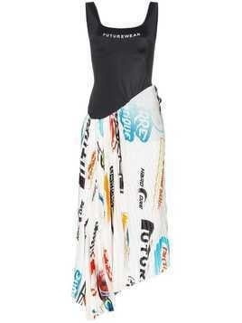 Marine Serre logo-print pleated scuba dress - Black