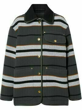Burberry lambskin trim stripe wool barn jacket - Grey