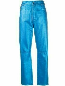 Mira Mikati straight-leg metallic trousers - Blue