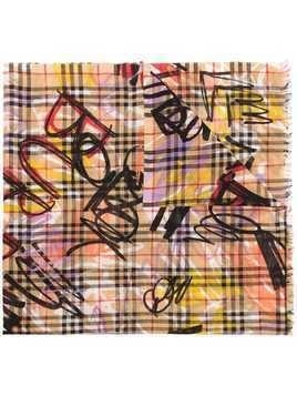 Burberry graffiti print and frayed edge scarf - Brown