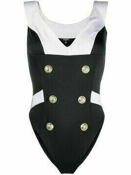 Balmain double-buttoned sailor swimsuit - Black