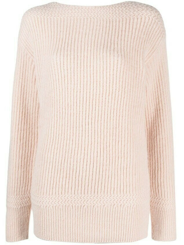 Closed ribbed boat neck jumper - PINK