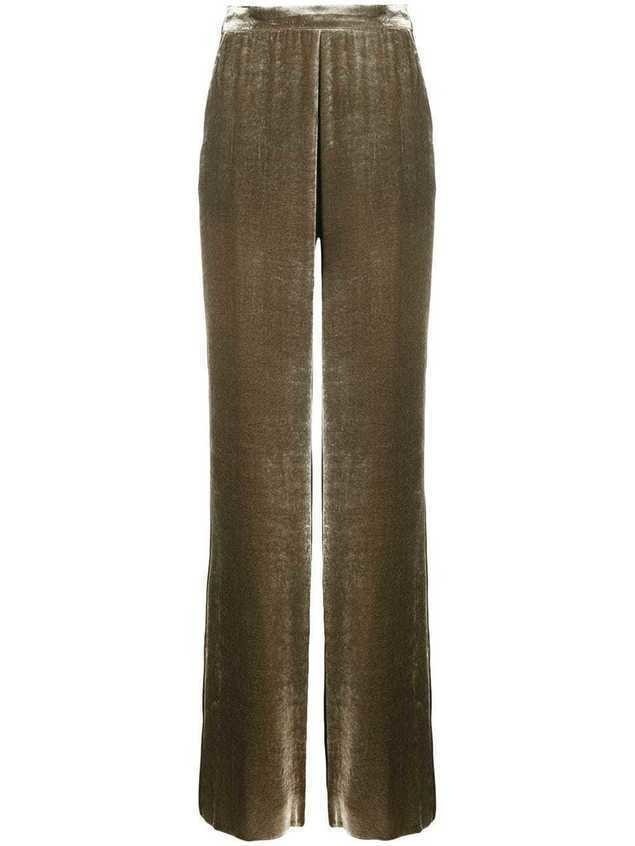 Etro velvet-effect wide-leg trousers - Green