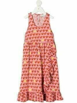 Stella McCartney Kids frilled heart stripe dress - PINK
