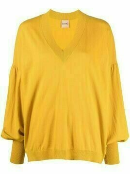 Nude knitted bell-sleeve sweater - Yellow