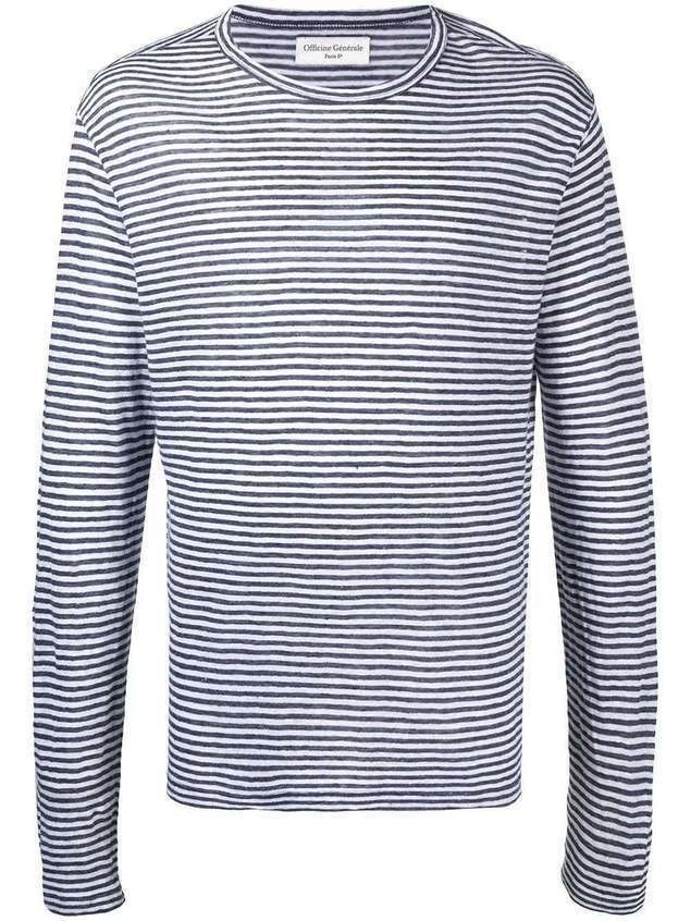 Officine Generale stripe print T-shirt - Blue