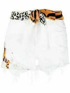 Laneus animal-print tie-waist shorts - White