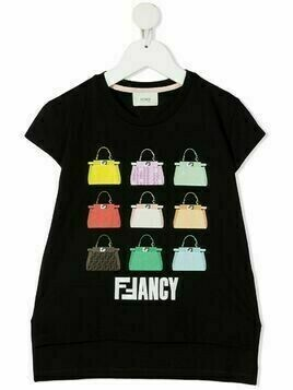 Fendi Kids Peekaboo bag print logo T-shirt - Black