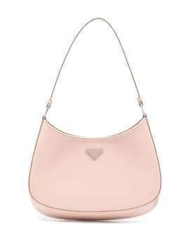 Prada logo-plaque polished-finish tote bag - PINK