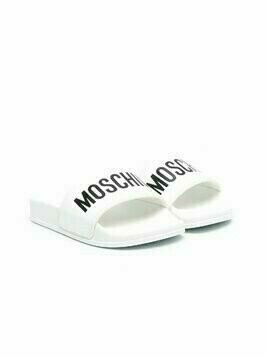 Moschino Kids logo-printed slides - White