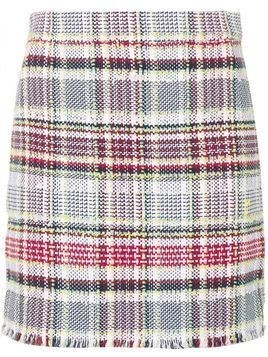 Thom Browne 4-BUTTON VENT MINI SKIRT WITH FRAY IN MADRAS COTTON TWEED - Grey