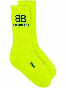 Balenciaga logo-intarsia ribbed socks - Yellow