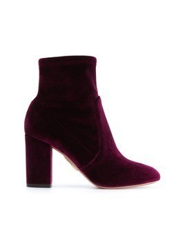 Aquazzura Brooklyn velvet ankle boots - Pink&Purple