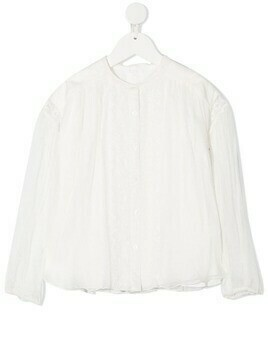 Chloé Kids embroidered detail silk blouse - White