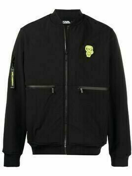 Karl Lagerfeld logo patch zip-up jacket - Black