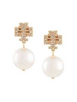 Tory Burch crystal logo pearl drop earrings - White