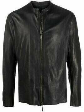 Masnada whipstitch leather jacket - Black