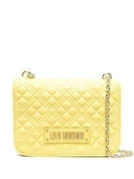 Love Moschino quilted logo plaque shoulder bag - Yellow