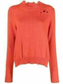 Maison Margiela ripped-detail knitted jumper - ORANGE