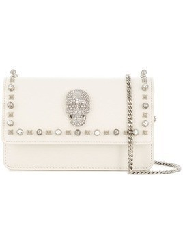 Philipp Plein crystal skull mini bag - White