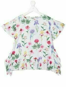 Monnalisa floral-print short-sleeved blouse - White