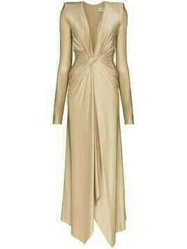 Alexandre Vauthier metallic knotted V-neck draped gown - Gold