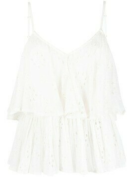 Mes Demoiselles cut-out florals tiered top - White