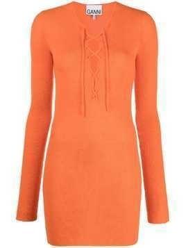 GANNI lace-up merino top - ORANGE