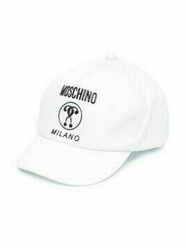 Moschino Kids double question mark-print baseball cap - White
