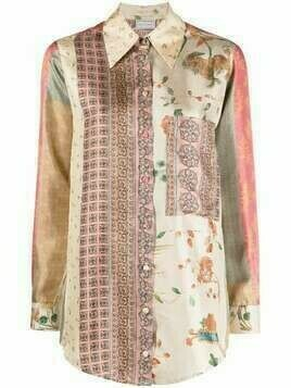 Pierre-Louis Mascia patchwork print silk shirt - Neutrals