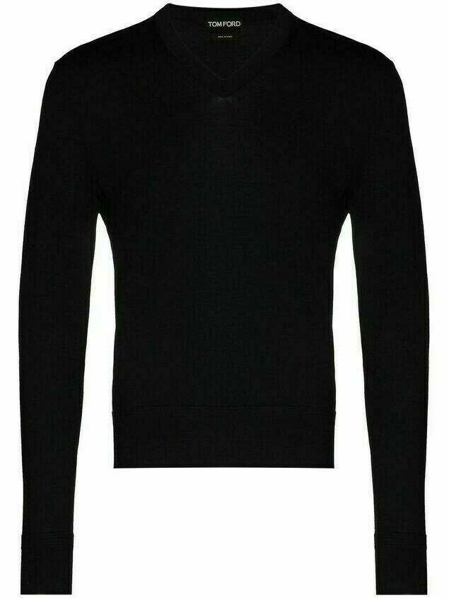 Tom Ford wool V-neck knit jumper - Blue