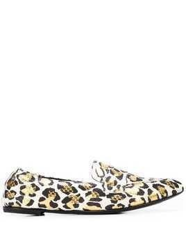 AGL pointed leopard loafers - White