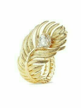 Boucheron 18kt yellow gold diamond Plume de Paon large ring