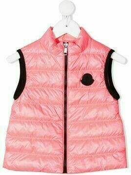 Moncler Enfant logo-patch padded gilet - Pink