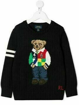 Ralph Lauren Kids intarsia-knit Polo bear jumper - Blue