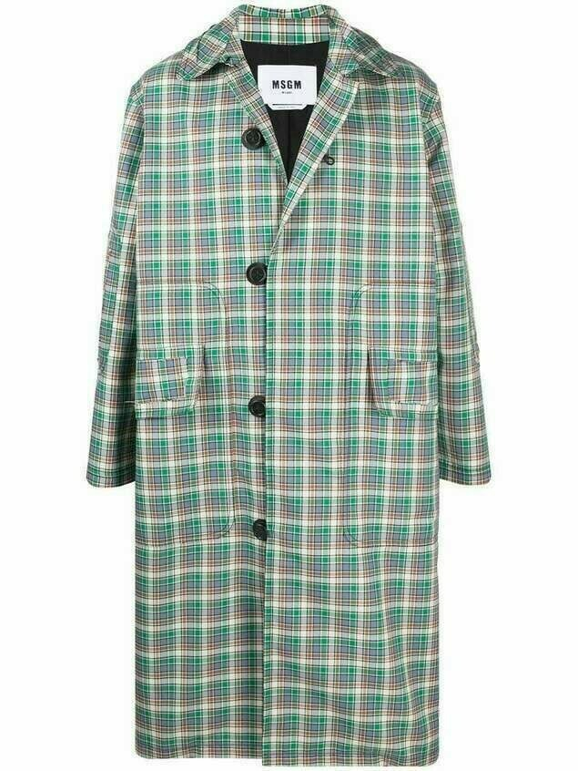 MSGM check print single-breasted coat - Green