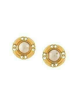 Chanel Pre-Owned CC button earrings - GOLD