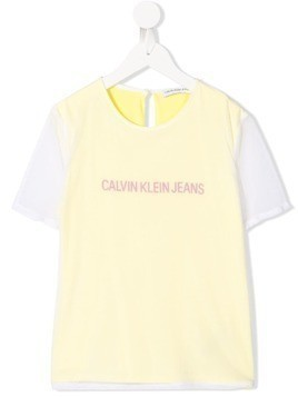 Calvin Klein Kids contrasting sleeve T-shirt - Yellow