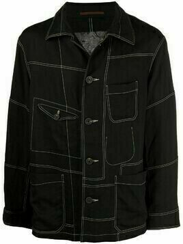 Ziggy Chen contrast-stitching denim jacket - Black