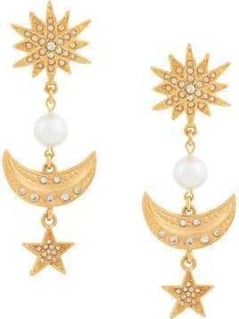 Oscar de la Renta Moon and stars earrings - Metallic