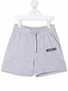 Moschino Kids logo print shorts - Grey