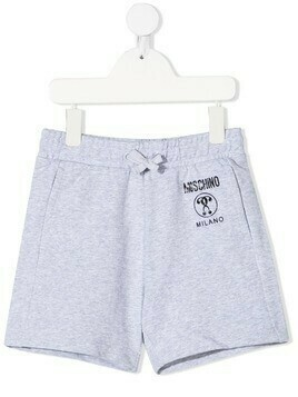 Moschino Kids logo-print jersey shorts - Grey