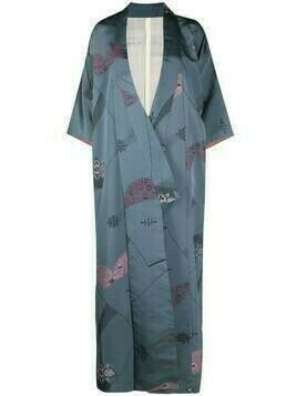 A.N.G.E.L.O. Vintage Cult 1970s abstract pattern silk kimono coat - Blue