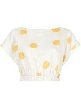 Rebecca Vallance Aya polka dot crop top - White