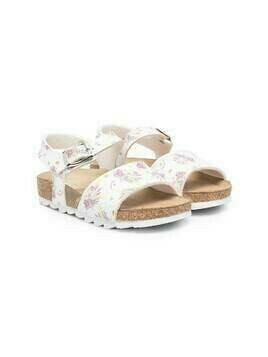 Monnalisa bouquet print sandals - White