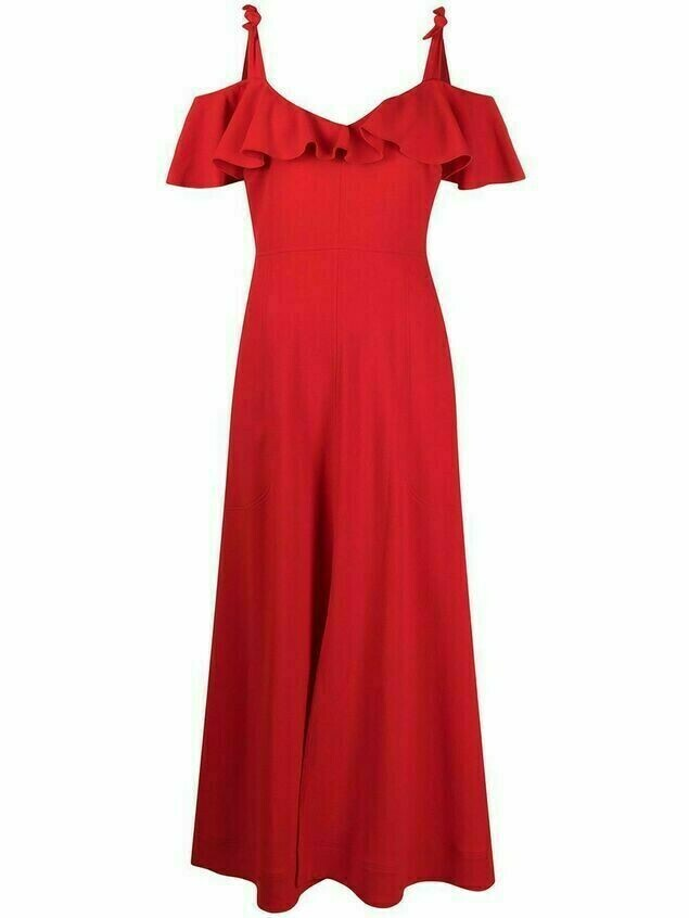 Giambattista Valli off-shoulder ruffled dress - Red
